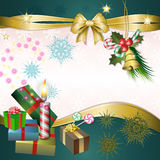 Merry Christmas background with candle Royalty Free Stock Photos