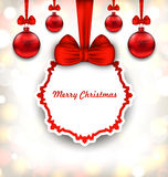 Merry Christmas Background with Celebration Card. Illustration Merry Christmas Background with Celebration Card and Glass Balls - Vector royalty free illustration