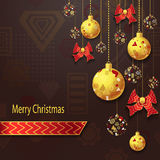 Merry Christmas background  with Christmas balls and bows in gold red Royalty Free Stock Photo