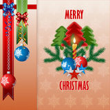 Merry Christmas background with Christmas balls hanging from silver chains and bow ribbons Stock Image