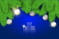 Merry Christmas background with christmas balls and lights. Stock vector Royalty Free Stock Photos