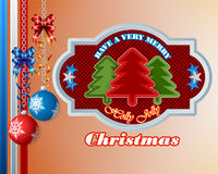 Merry Christmas background with Christmas balls and sewing fabric Christmas tree Royalty Free Stock Image