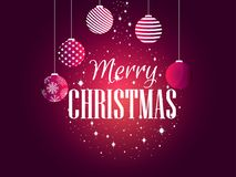 Merry Christmas. Background with Christmas balls and snowflakes. Festive greeting card. Vector Stock Photography