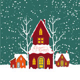Merry christmas background with christmas house Royalty Free Stock Photo