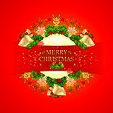 Merry Christmas Background with circular frame vector illustration