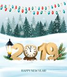 Merry Christmas Background with 2019 and clock stock illustration