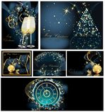 Merry Christmas background collection. S gold and blue vector illustration