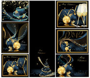 Merry Christmas background collections. Gold and blue royalty free illustration