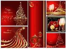 Merry Christmas background collections. Gold and red vector illustration