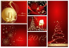 Merry Christmas background collections. Gold and red stock illustration
