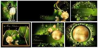 Merry Christmas background collections. Gold and green royalty free illustration