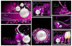 Merry Christmas background collections. Silver and violet vector illustration