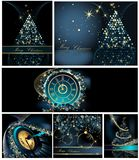 Merry Christmas background collections. Gold and blue vector illustration