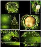Merry Christmas background collections. Gold and green stock illustration