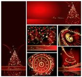 Merry Christmas background collections. Gold and red royalty free illustration