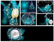 Merry Christmas background. Collections silver and blue vector illustration