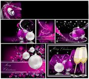 Merry Christmas background collections. Silver and violet stock illustration