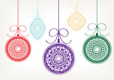 Merry christmas background. Color illustration of decorative christmas balls vector illustration