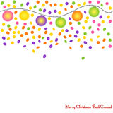 Merry Christmas BackGround confetti and garlands Vector Stock Image