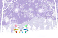 Merry christmas background with couple snowman - Graphic texture of painting techniques Royalty Free Stock Image