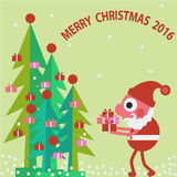 2016 merry christmas background. 2016 merry christmas   cute santa clause and  green christmas  tree  with gift box flat color background Stock Photos