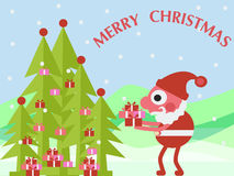 2016 merry christmas background. 2016 merry christmas   cute santa clause and  green christmas  tree  with gift box flat color background Royalty Free Stock Photos