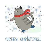 Merry Christmas background with cute skating cat. Stock Images