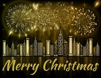 Merry Christmas background decorated with fireworks exploding in night sky over downtown city. With reflection in water of golden shades Stock Images