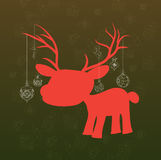 Merry christmas background with deer and christmas decoration Royalty Free Stock Images