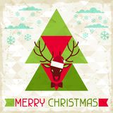 Merry Christmas background with deer in hipster Royalty Free Stock Images