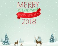 Merry Christmas background with deer Stock Photos