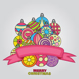 Merry Christmas background design with decoration balls elements. Royalty Free Stock Image