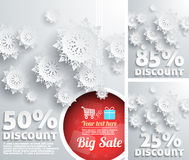Merry Christmas Background. Discount Percent with Snowflake and Ball. Discount concept set Royalty Free Stock Photos