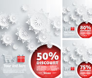 Merry Christmas background discount percent. With snowflake and balls Royalty Free Stock Image