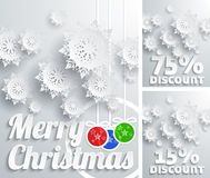 Merry Christmas background discount set. Merry Christmas background discount percent with snowflake and balls Stock Images