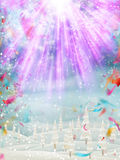 Merry Christmas background. EPS 10. Merry Christmas background. Landscape with many falling tiny confetti pieces. EPS 10 vector file included Stock Image