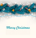 Merry Christmas Background with Fir Branches Stock Photos