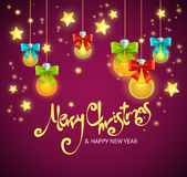 Merry Christmas Background with Garland and Text. Vector Stock Images