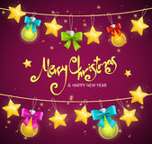 Merry Christmas Background with Garland and Text. Vector. Merry Christmas Background with Garland and Text. Rows Of Lamps. Vector illustration Stock Photography