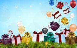 Merry christmas background with gift boxes, balloons, candies, and fir tree Stock Photos