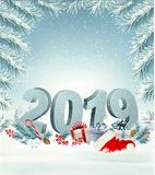 Merry Christmas Background with 2019 stock illustration