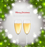 Merry Christmas Background with Glasses of Champagne Royalty Free Stock Photography