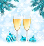 Merry Christmas Background with Glasses of. Illustration Merry Christmas Background with Glasses of Champagne, Fir Branches and Balls - Vector stock illustration