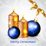 Merry Christmas background with gold candles and d. Vector Merry Christmas background with gold candles and decorations Stock Photo