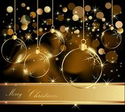 Merry Christmas background. Gold Merry Christmas  background with decorations Royalty Free Stock Image