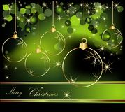 Merry Christmas  background. Gold and green Stock Photography