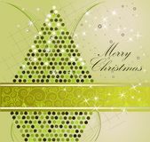 Merry Christmas background. Gold and green royalty free illustration