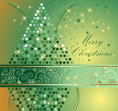 Merry Christmas background. Gold and green Stock Photo