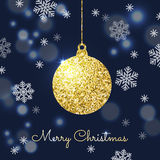 Merry Christmas background with gold hanging bauble. Shining gli Stock Photo