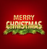 Merry Christmas Background with Golden Text and Fir Branch. Illustration Merry Christmas Background with Golden Text and Fir Branch - Vector Stock Images
